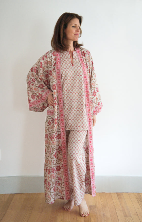 Long Kimono in Coral Thistle