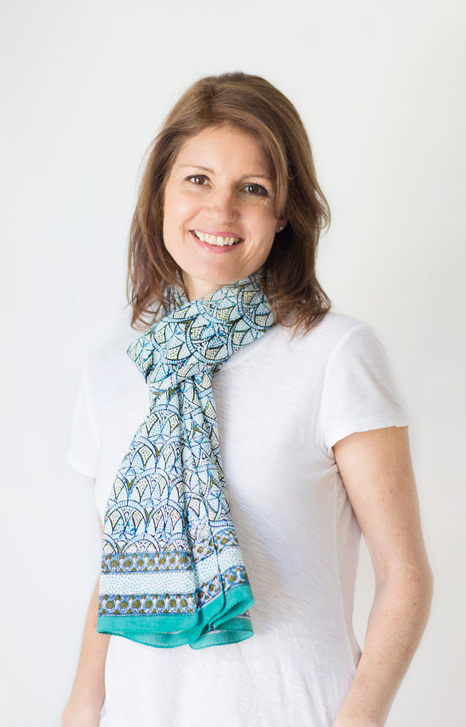 Scarf in Crystal Blues