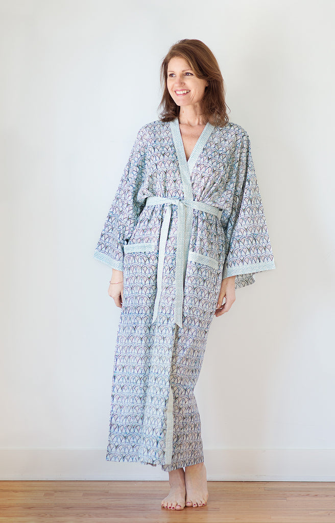 Long Kimono in Crystal Blues