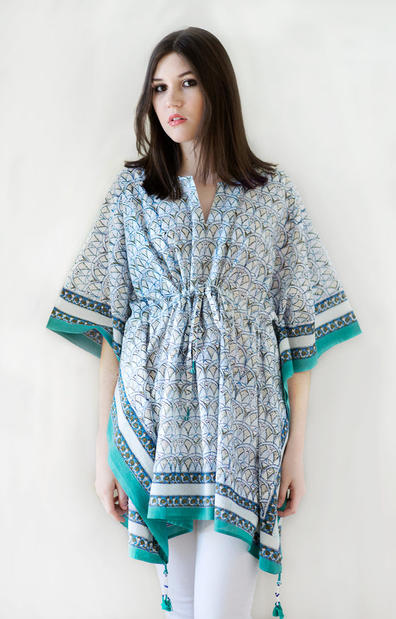 Peasant Tunic in Crystal Blues