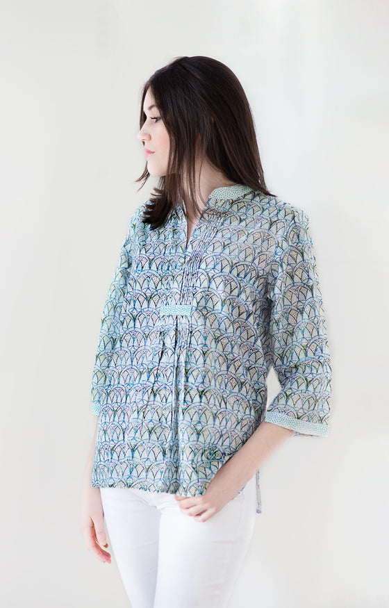 Pintuck Blouse in Crystal blues