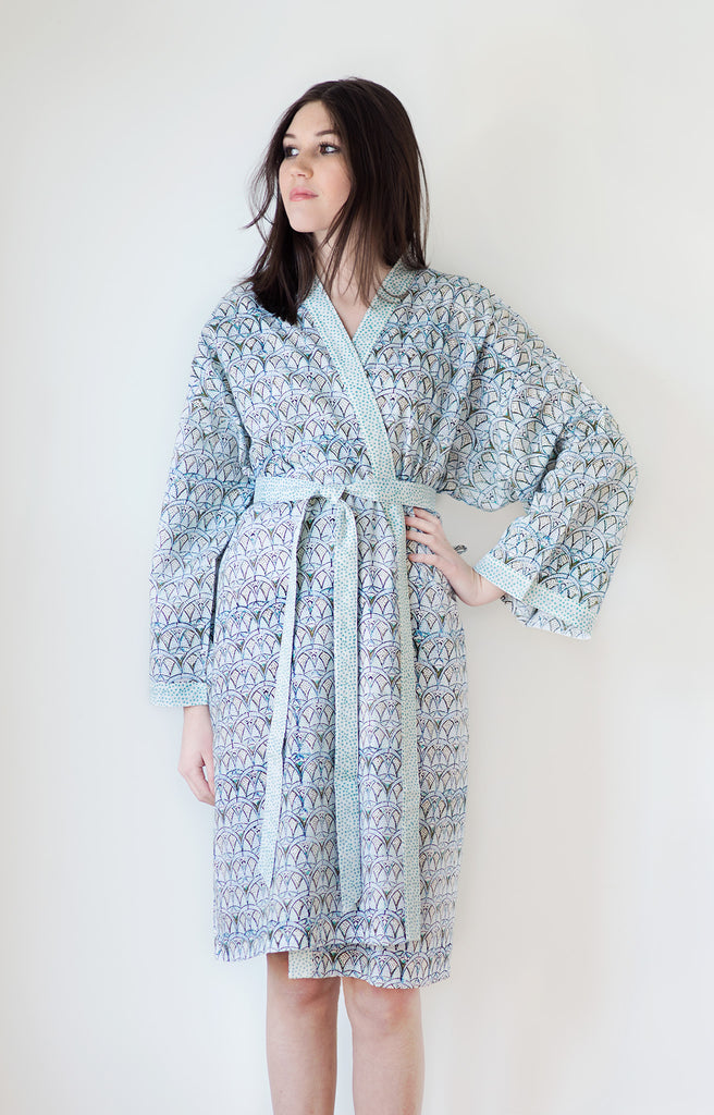 Short Kimono in Crystal Blues