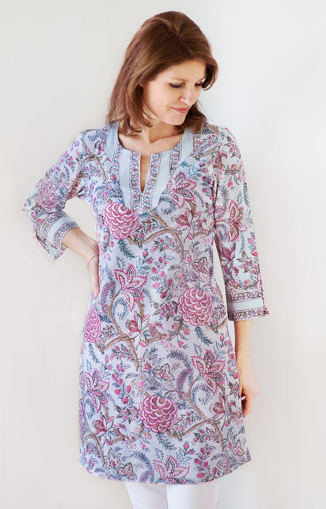 Bias Tunic in Dawn Chintz