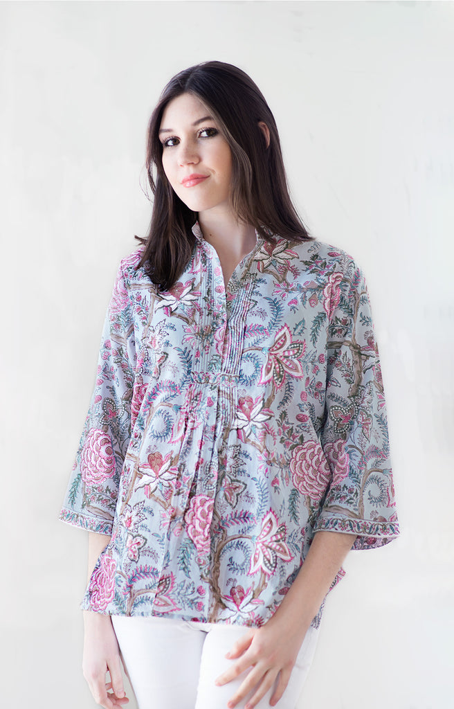 Pintuck Blouse in Dawn Chintz