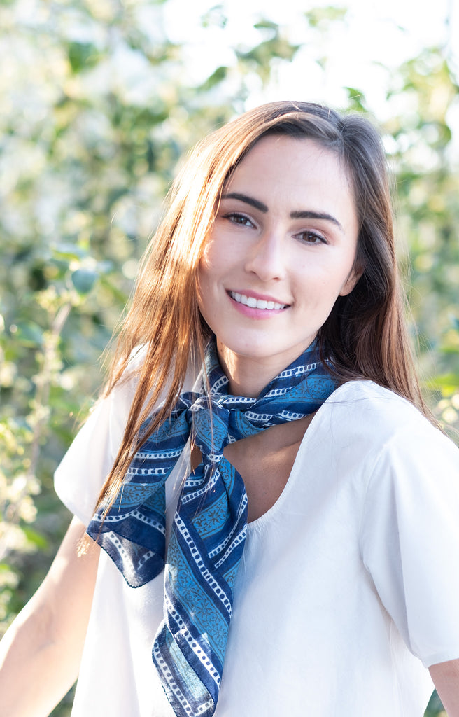 Scarf in Denim Stripe