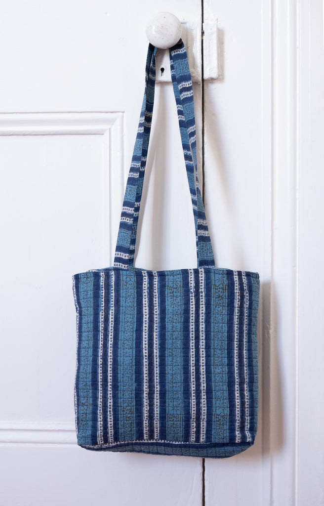 City Bag in Denim Stripe