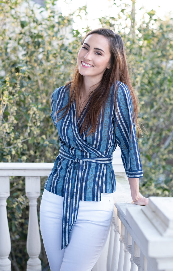 Wrap Top in Denim Stripe