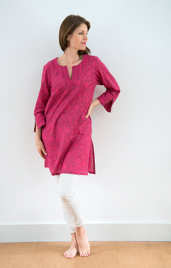 Bias Tunic in Electric Mauve
