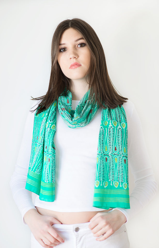 Scarf in Emerald Batik