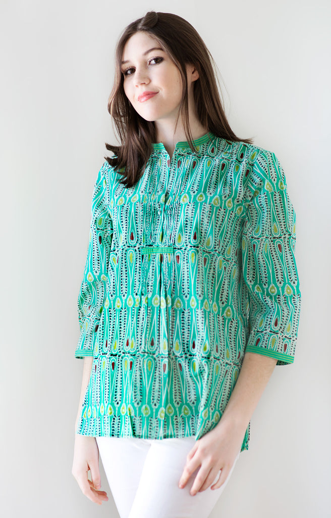 Pintuck Blouse in Emerald Batik