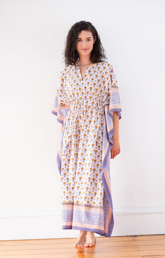 Drawstring Kaftan in Gold Tulip