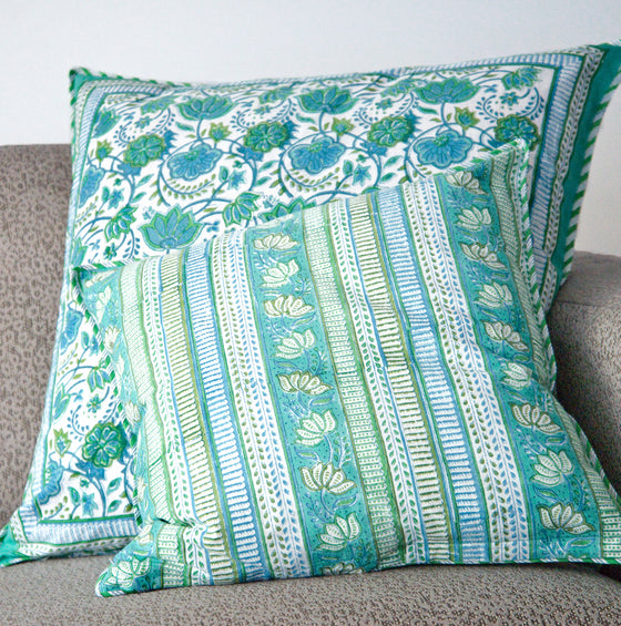 Cushion Covers in Green Folk Art