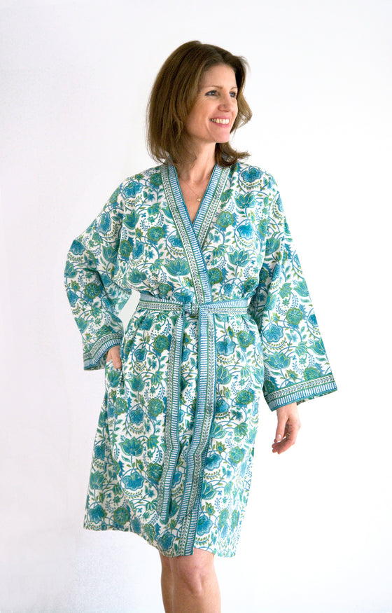 Short Kimono in Green Folk Art