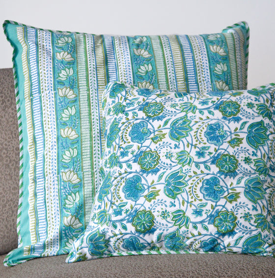 Cushion Covers in Green Stripe