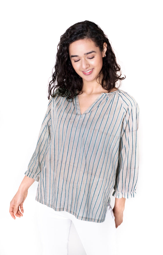 Artisan Blouse in Grey Stripe