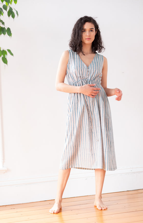 Button Sundress in Grey Stripe
