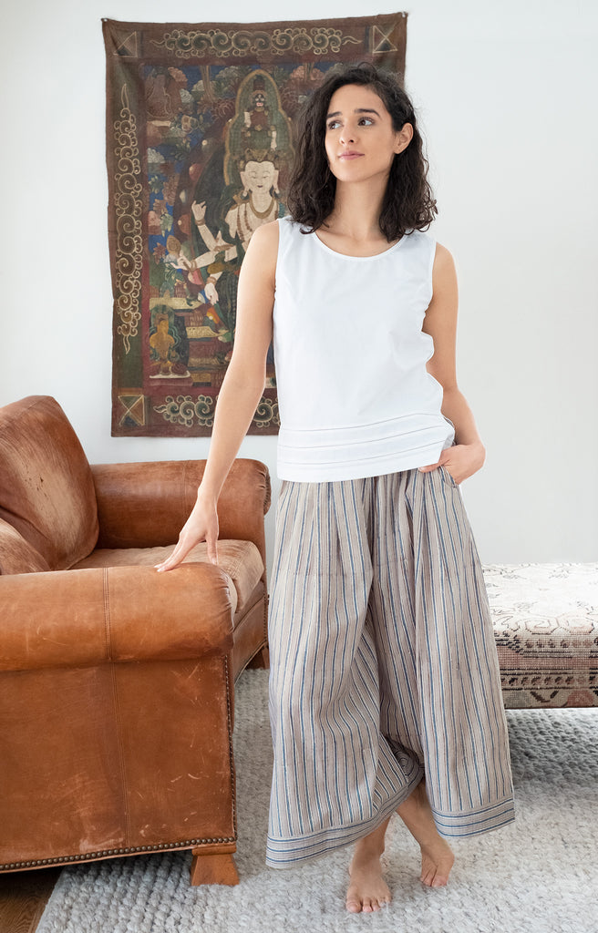 Culottes in Grey Stripe