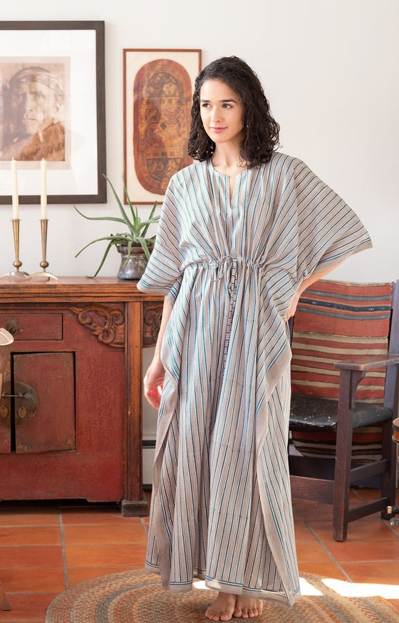 Drawstring Kaftan in Grey Stripe