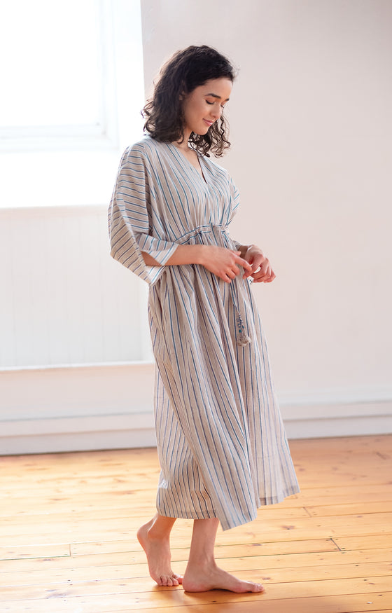 Peasant Dress in Grey Stripe