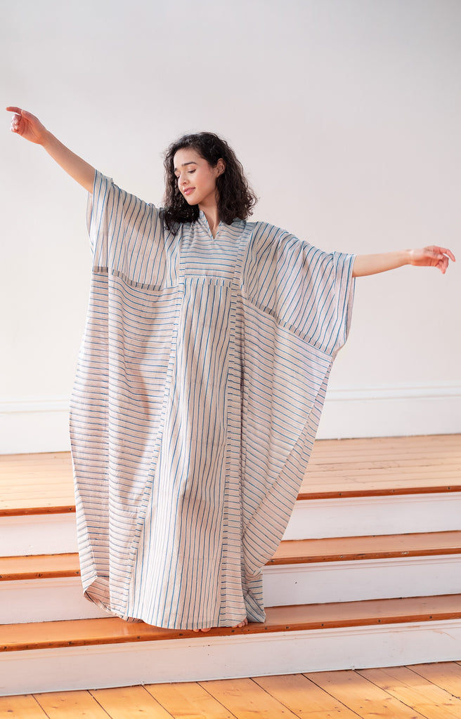 Drama Queen Kaftan in Grey Stripe