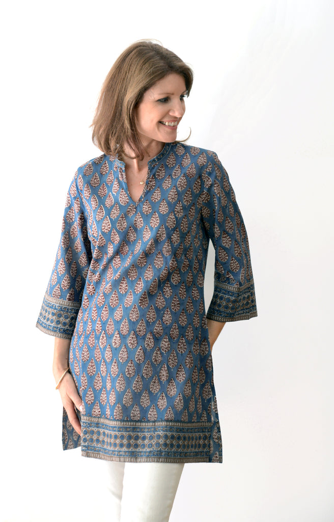 Straight Tunic in Indigo Cypress