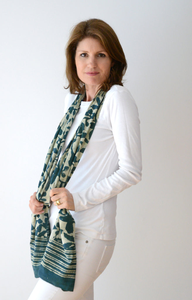Scarf in Indigo Green