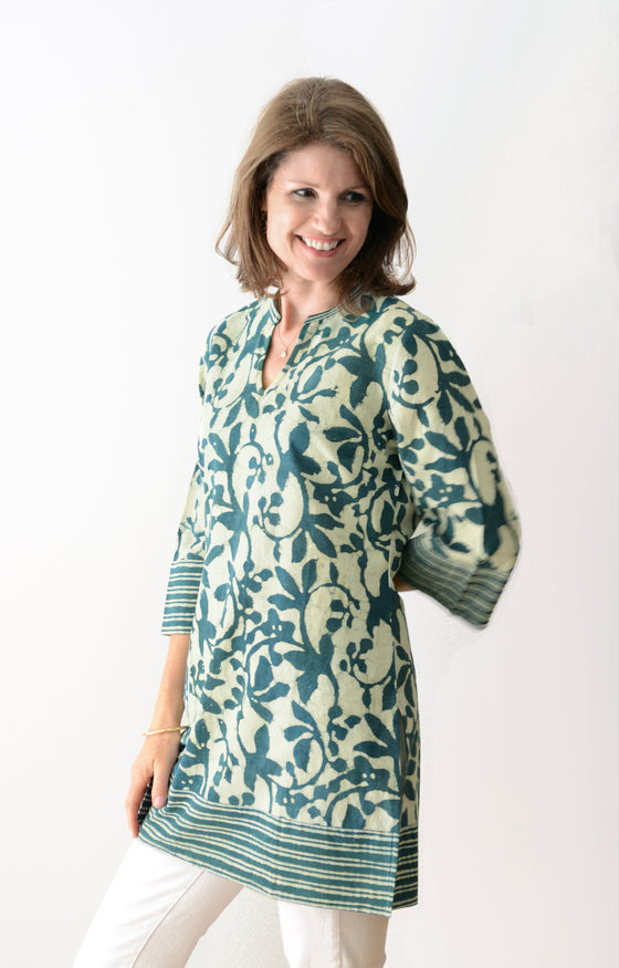 Straight Tunic in Indigo Green
