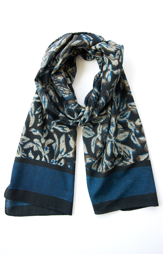 Scarf in Indigo Stencil Flower