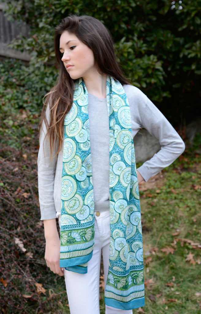 Scarf in Jade Circles