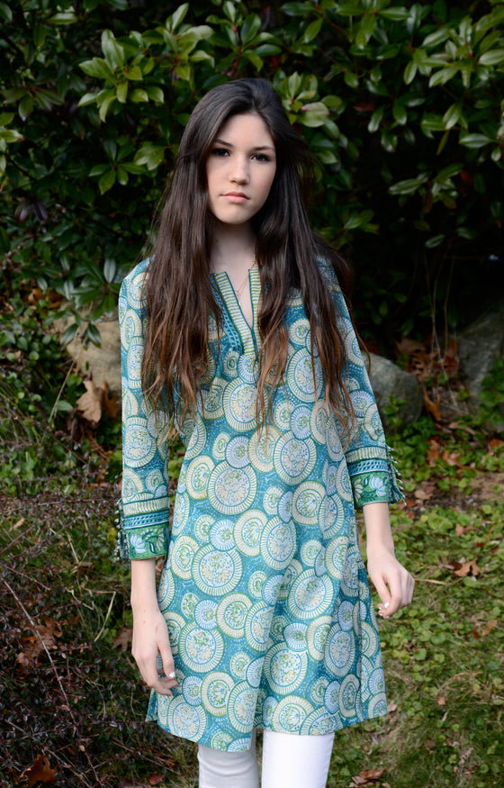 Bias Tunic in Jade Circles