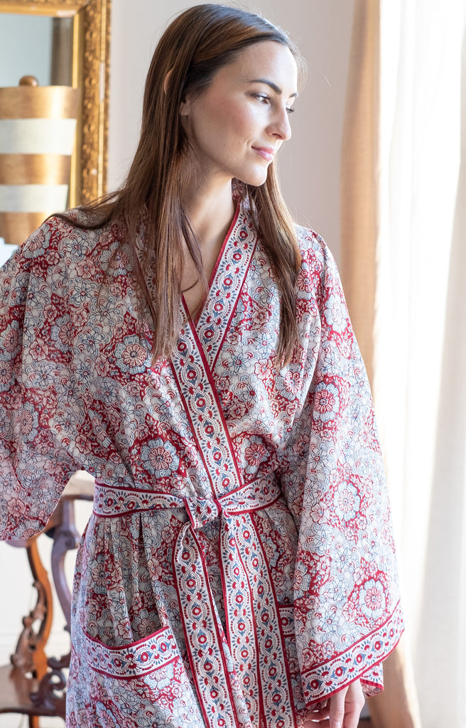 Long Kimono in Japanese Red