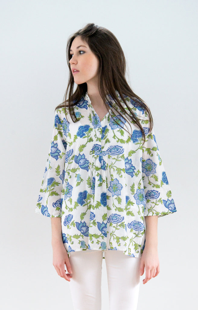 Pintuck Blouse in Lapis Inlay