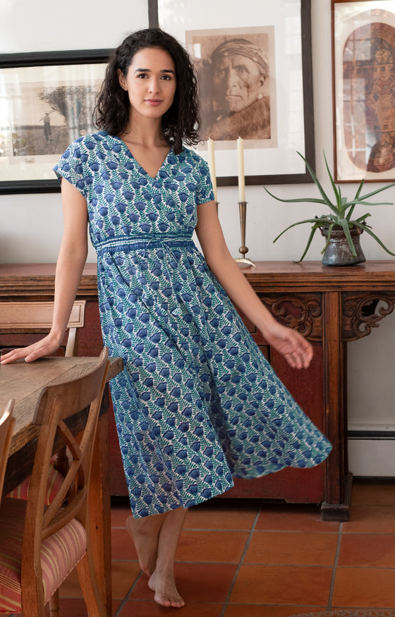 Crossover Sundress in Lapis Tulip