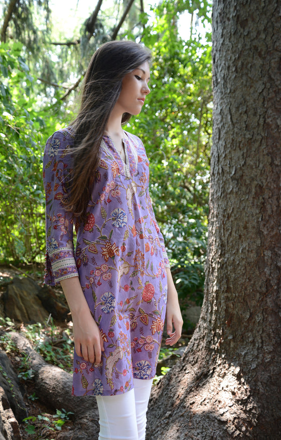 Bias Tunic in Lavender India