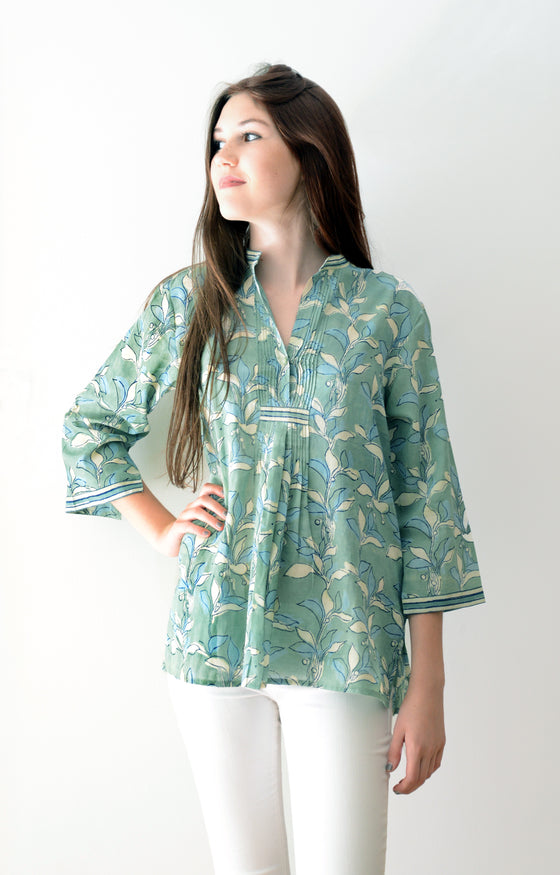 Pintuck Blouse in Lichen Mix