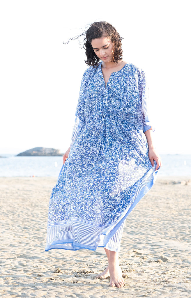 Drawstring Kaftan in Moroccan Blue