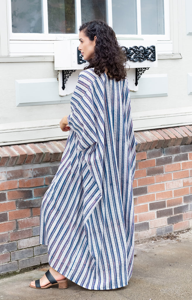 Kaftan in Navy Stripe