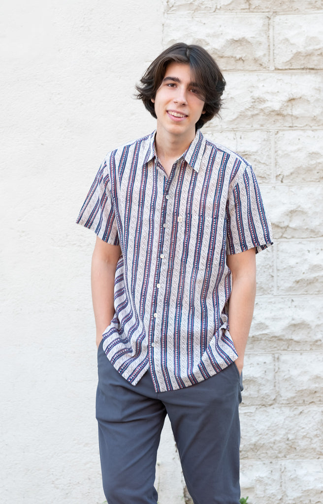 Men's Short Sleeve Shirt in Navy Stripe (PRE ORDER)