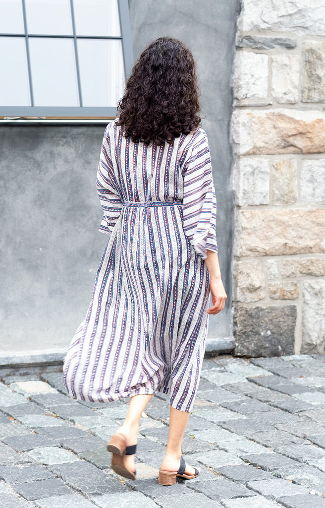 Peasant Dress in Navy Stripe (PRE ORDER)