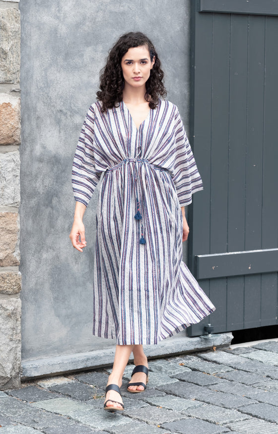 Peasant Dress in Navy Stripe