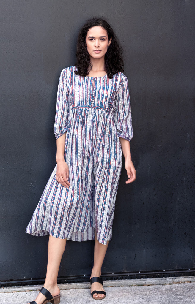 Rachel Dress in Navy Stripe