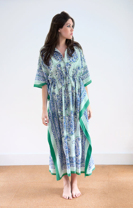 Drawstring Kaftan in Paisley in the Grass