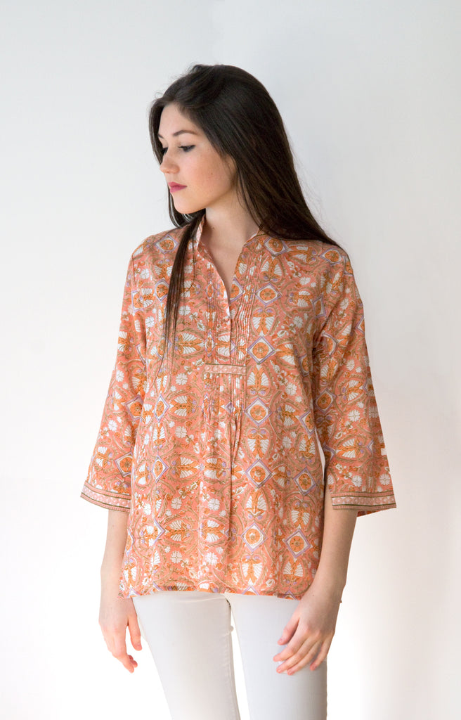 Pintuck Blouse in Peach Deco