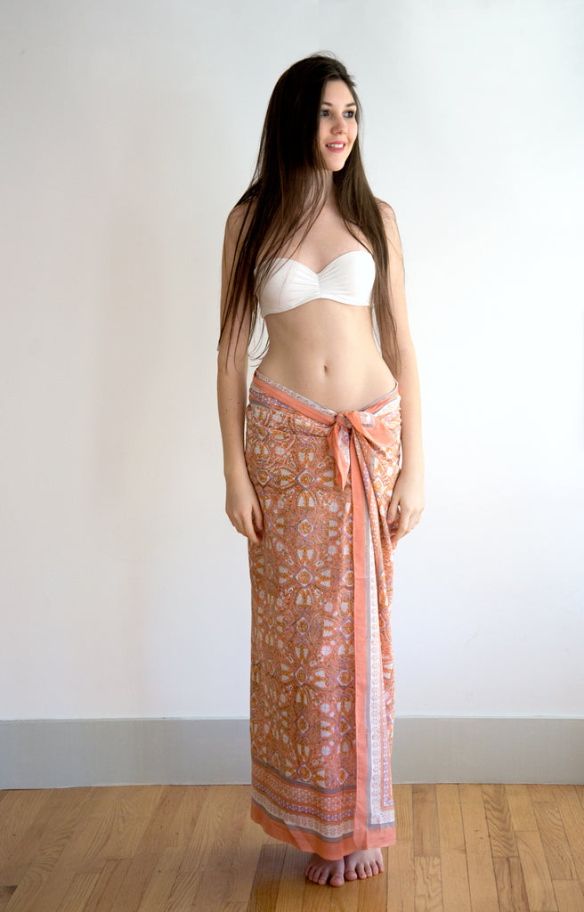 Sarong in Peach Deco