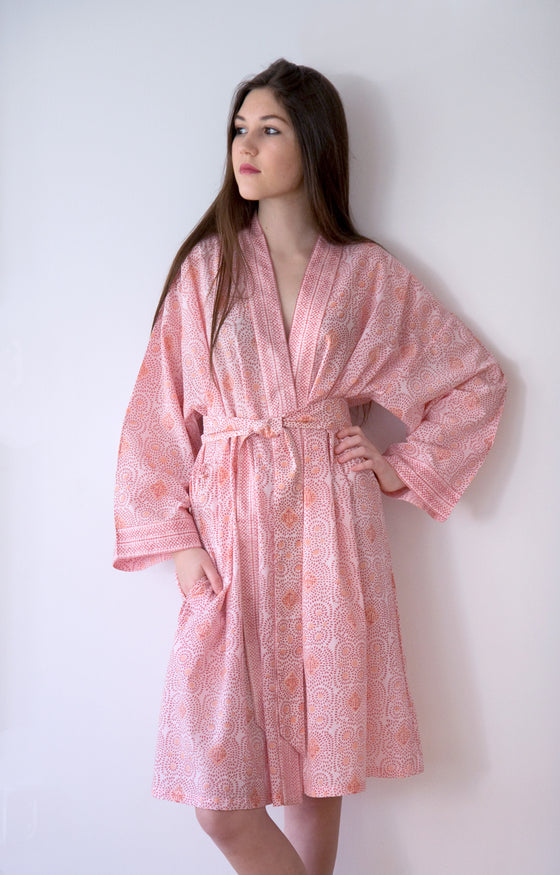 Short Kimono in Pink Dots