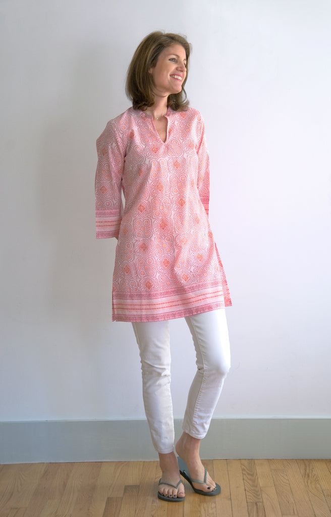 Straight Tunic in Pink Dots