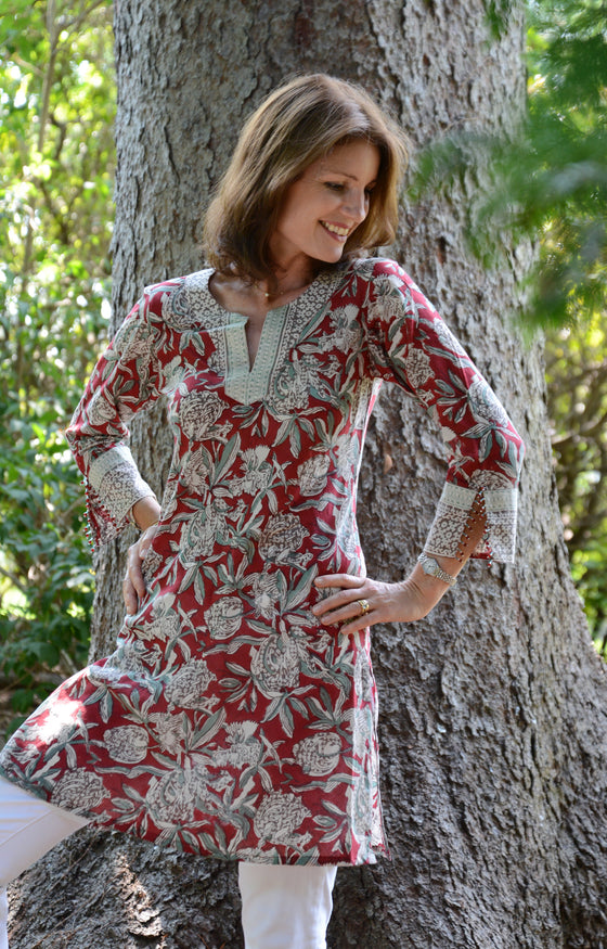 Bias Tunic in Pomegranate Press