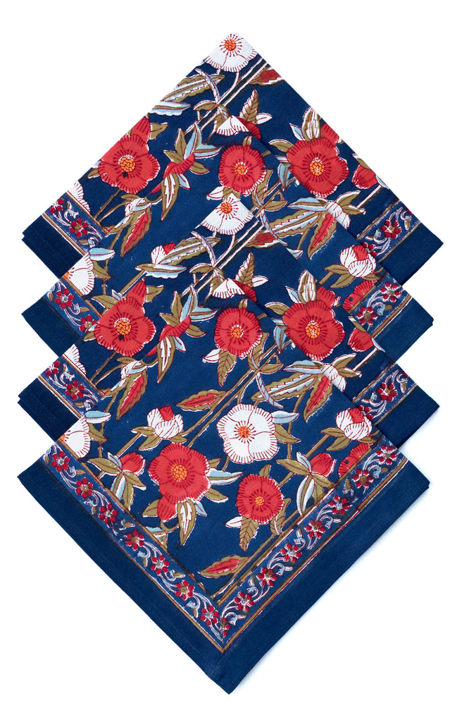 Table Linens in Poppy Fields Navy