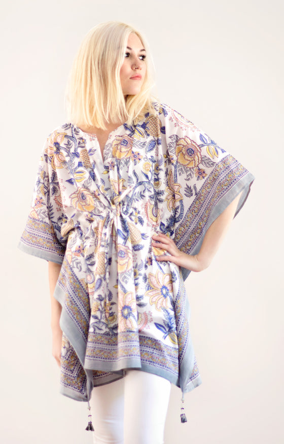 Peasant Tunic in Powder Floral