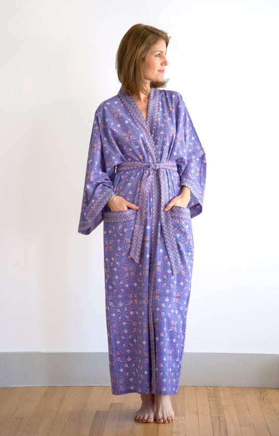 Long Kimono in Purple Art Deco